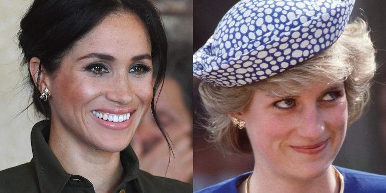 Meghan and Princess Diana wearing the same earrings