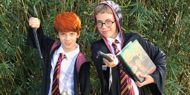 Ron Weasley, aka Leo, is allergic to peanuts and tree nuts. He swaps his some of Halloween candy for candy he can eat and along with his brother Eli, Harry Potter, he donates his candy to others.