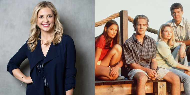Sarah Michelle Gellar w/ Dawson's Creek cast