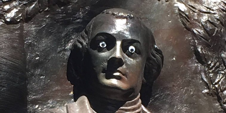 The statue of American war hero Nathanael Greene in Johnson Square in Savannah, Georgia, had a new set of eyes placed on its face