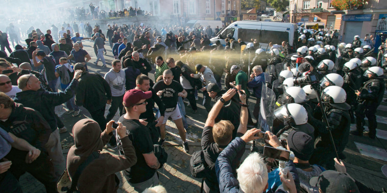 Polish police used tear gas and a water cannon against right-wing extremists who were trying to block the first equality parade in the city of Lublin in eastern Poland on Oct. 13, 2018.