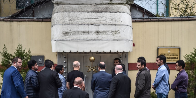 Saudi investigation delegation enter the consulate before Turkish forensic police and investigation delegation arrive at the Saudi Arabian consulate in Istanbul, Turkey, on Oct. 15, 2018 in Istanbul.
