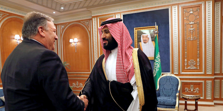 Image: U.S. Secretary of State Mike Pompeo meets with the Saudi Crown Prince Mohammed bin Salman during his visits in Riyadh