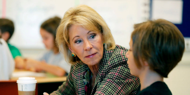 Image: Education Secretary Betsy DeVos visits a classroom at the Edward Hynes Charter School in New Orleans on Oct. 5, 2018.