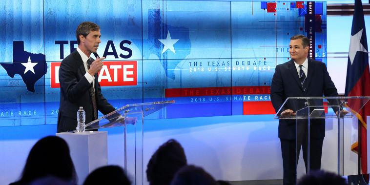 Image: Candidate for the US Senate Beto O'Rourke and Senator Ted Cruz hold a debate in San Antonio