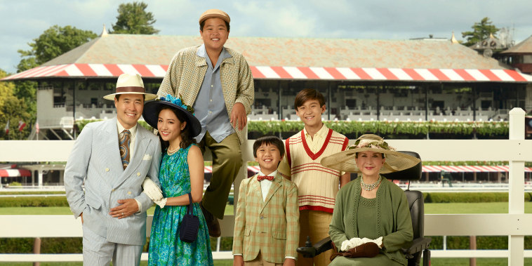 "ABC's ""Fresh Off the Boat"" stars Randall Park as Louis Huang, Constance Wu as Jessica Huang, Hudson Yang as Eddie Huang, Ian Chen as Evan Huang, Forrest Wheeler as Emery Huang and Lucille Soong as Grandma Huang."