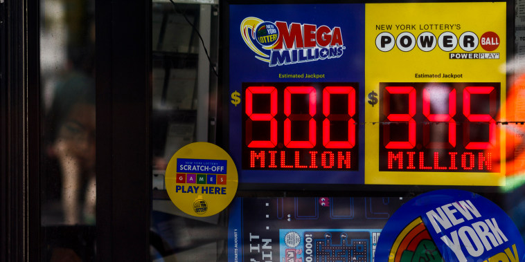 A sign showing the jackpot for the Mega Millions lottery in New York