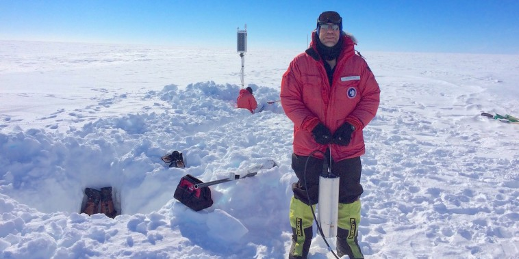 Study co-author Rick Aster holds a broadband seismometer during a station installation trip on the Ross Ice Shelf