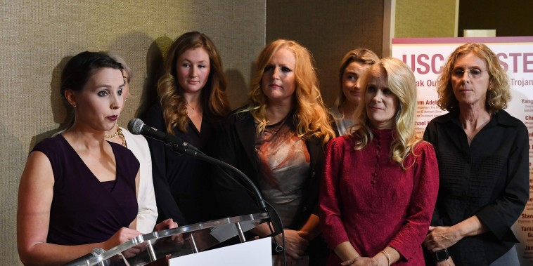 A group of current and former USC students who are survivors of alleged sexual assault by gynecologist Dr. George Tyndall speak out during a press conference