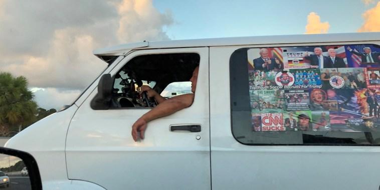 Image: Cesar Sayoc's van is seen in Boca Raton, Florida