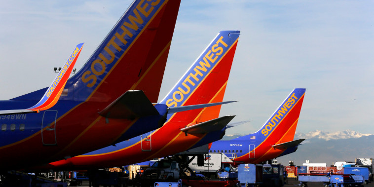 Image: File photo of Southwest Airlines jets waiting on the tarmac at Denver International Airport in Denver