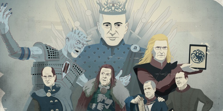 The Streaming Wars: Up top, Amazon CEO Jeff Bezos wears the crown. Middle left, Netflix CEO Reed Hastings. Middle right, Apple CEO Tim Cook. Bottom left, Comcast CEO Brian Roberts. Bottom middle left, Disney CEO Robert Iger. Bottom right, HBO CEO Richard Plepler and AT&T CEO Randall Stephenson.