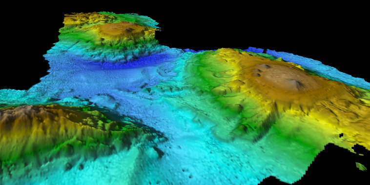 Image: Multibeam mapping of seamount chain