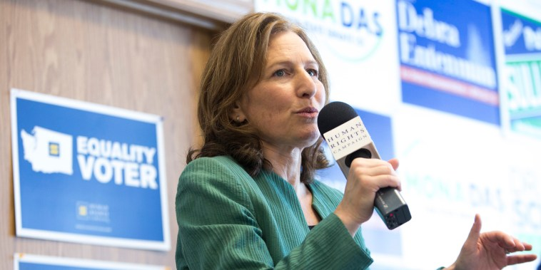 Kim Schrier, running for U.S. Congress (WA 8th District) speaks during a canvasing kick-off event at a Human Rights Campaign phone bank for Schrier in  in Auburn, Washington, on Oct. 30, 2018.