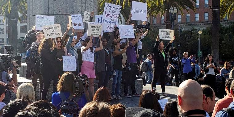 """Image: Google employees stage a """"women's walkout"""" at their Googleplex offices in Mountain View"""