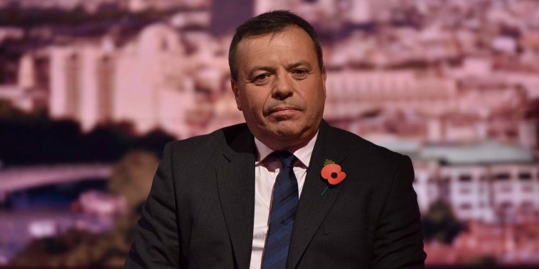 Image: Brexit campaigner, Arron Banks, appears on the BBC's Andrew Marr Show, in London