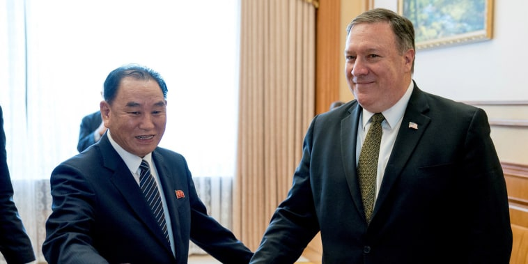 Image: Secretary of State Pompeo and Kim Yong Chol arrive for a lunch at the Park Hwa Guest House in Pyongyang