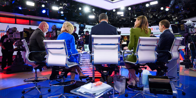 NBC News anchors and analysts cover the midterm elections on Nov. 6, 2018 in New York.