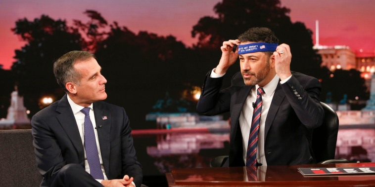 """Jimmy Kimmel Live: After The Midterms for Tuesday, Nov. 6 included Sacha Baron Cohen (""""Who Is America?""""), and Eric Garcetti (Mayor of Los Angeles)."""