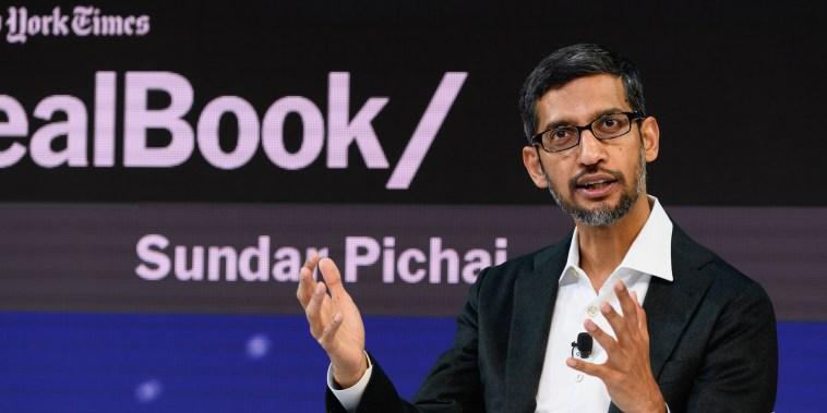 Sundar Pichai, the CEO of Google Inc., speaks at an event in New York on Nov. 1, 2018.
