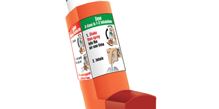 This undated product image provided by Amphastar shows Primatene Mist. A new version of the once-popular asthma inhaler Primatene Mist will soon return to U.S. stores. The Food and Drug Administration on Wednesday, Nov. 7, 2018, approved its over-the-counter aerosol inhaler for ages 12 and up.