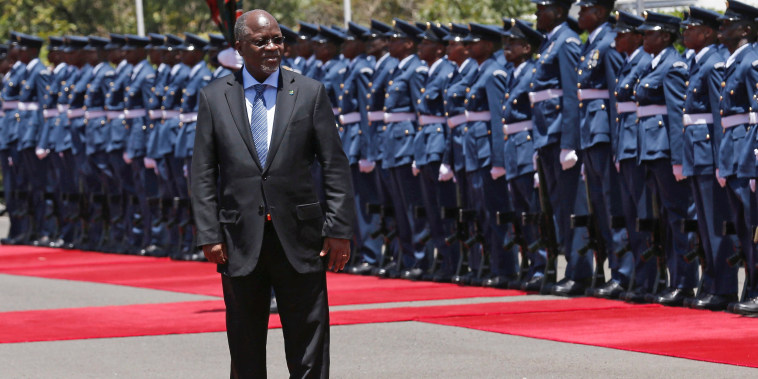 Image: FILE PHOTO: Tanzanian President John Magufuli leaves after inspecting a guard of honour during an official visit to Kenya