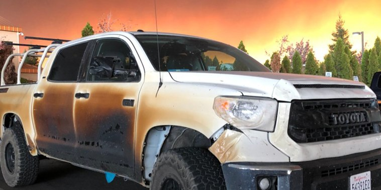 California wildfires melted truck