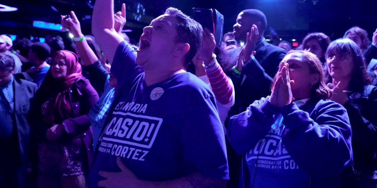 Supporters of Alexandria Ocasio-Cortez cheer during her election night party in New York on Nov. 6, 2018.