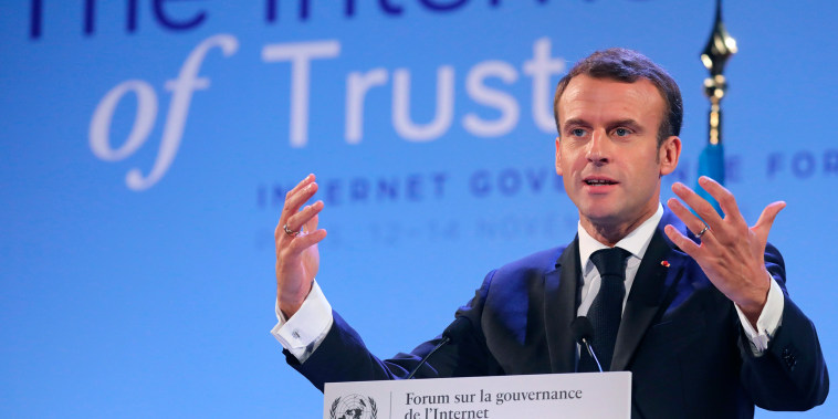 France's President Emmanuel Macron delivers a speech at the Internet Governance Forum organized at the United Nations Educational, Scientific and Cultural Organisation, UNESCO headquarters in Paris on Nov. 12, 2018.
