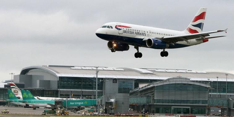 Image: A British Airways aircraft landing at Dublin Airport