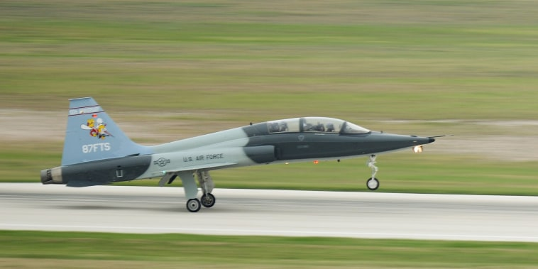 Image: An 87th Flying Training Squadron commander lands a T-38C Talon after a formation flight at Laughlin Air Force Base