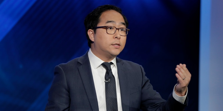 Andy Kim speaks during a debate in Newark, New Jersey, on Oct. 31, 2018.