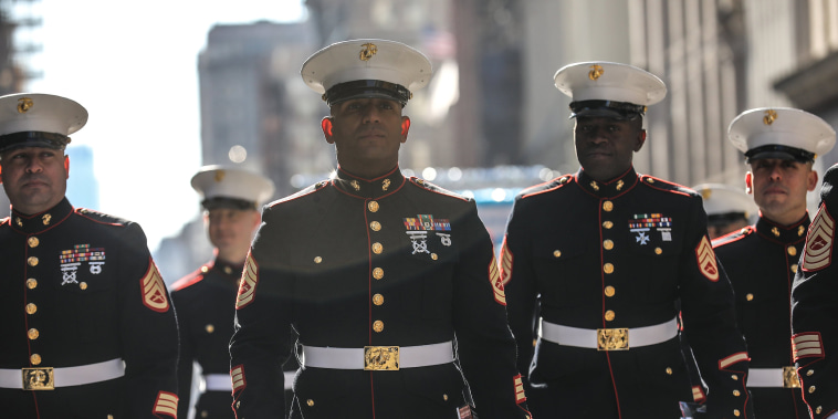 Image: People attend the Veterans Day parade in New York City