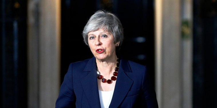 Image: Britain's Prime Minister Theresa May makes a statement outside 10 Downing Street, in London