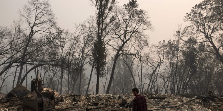 Jhonathan Clark near his house that was destroyed by the Camp Fire in Paradise, California, on Nov. 15, 2018