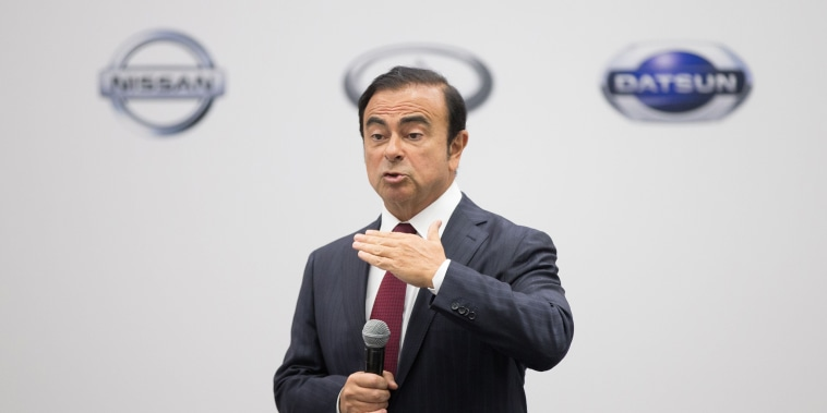 Image: Carlos Ghosn, chairman, president and chief executive officer of Nissan Motor, speaking to reporters during a press conference at the 2016 North American International Auto Show