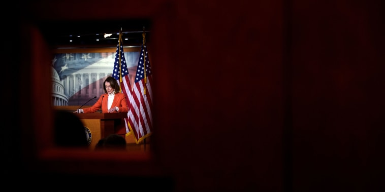 Image: House Minority Leader Nancy Pelosi (D-CA) speaks to reporters on Capitol Hill