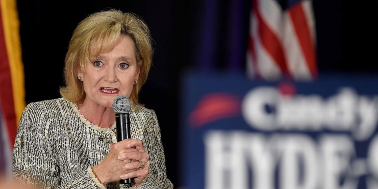 Senator Cindy Hyde-Smith talks to supporters in in Jackson, Mississippi, on Nov. 6, 2018.