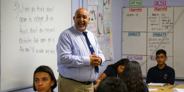 St Claire Adriaan, principal at Academia Avance in Los Angeles, works with a student population that's a mix of documented and undocumented Mexican or Mexican-American children.