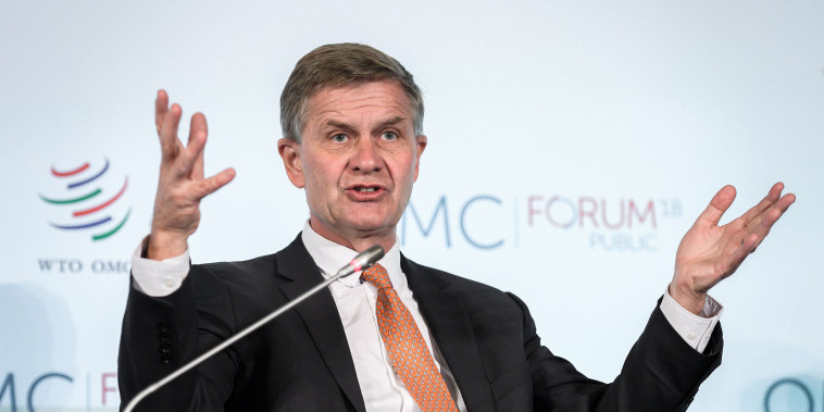 United Nations Under-Secretary-General for environment Erik Solheim speaks during a debate on sustainable trade at the World Trade Organization headquarters in Geneva on Oct. 2, 2018.