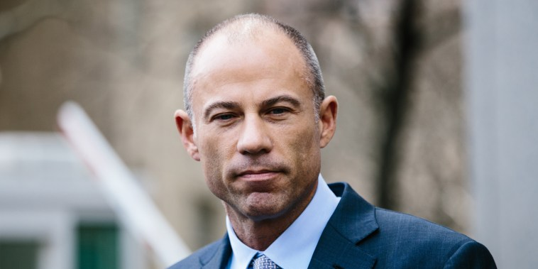 Michael Avenatti speaks to the press outside federak court in Manhattan on April 13, 2018.