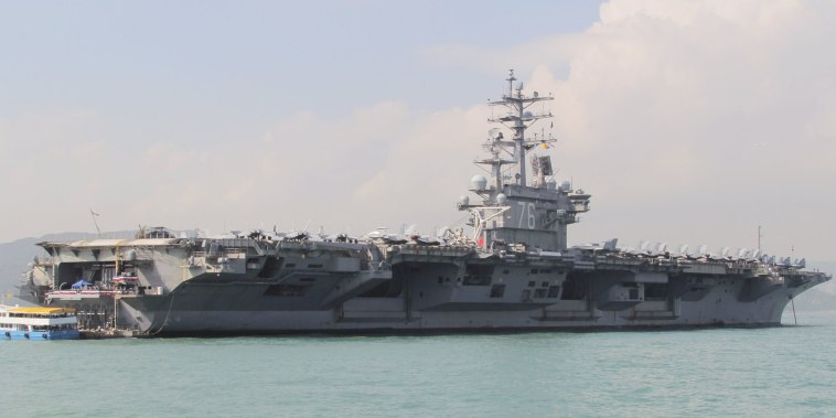 Image: U.S. Navy aircraft carrier USS Ronald Reagan during its visit to Hong Kong