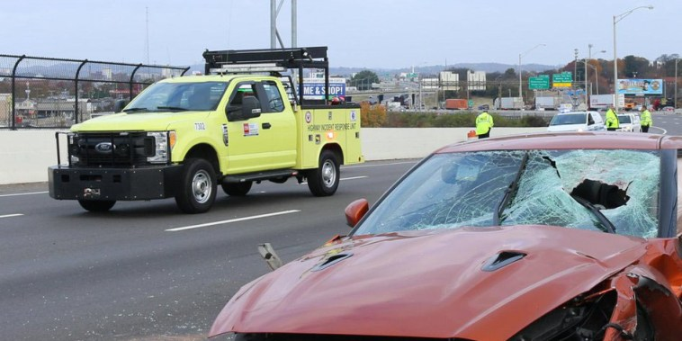 Image: A chunk of concrete, likely thrown from the Shelby Av. Bridge, went through a drivers windshield in Nashville.