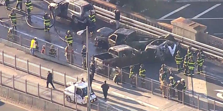One person is dead and five people have been injured in a three-car fire on the Brooklyn Bridge on Nov. 21, 2018.