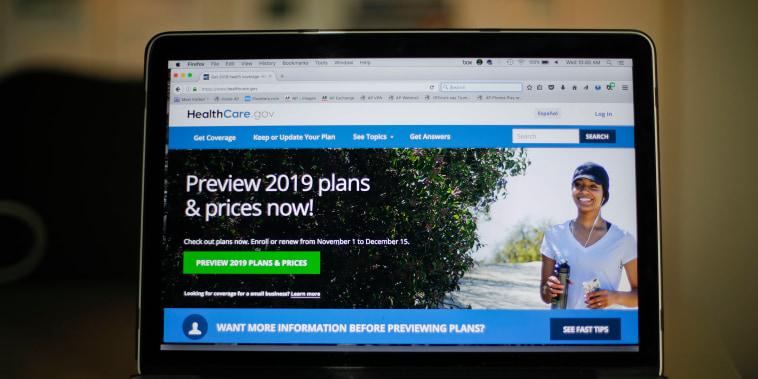 Image: The HealthCare.gov website in Washington on Oct. 31, 2018.