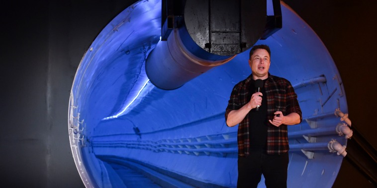 Elon Musk speaks during an unveiling event for the Boring Company Hawthorne test tunnel in Hawthorne
