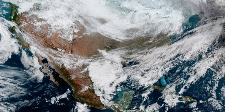 Image: NOAA satellite image of extreme cold weather phenomenon called the polar vortex over the U.S. Midwest and Great Lakes regions
