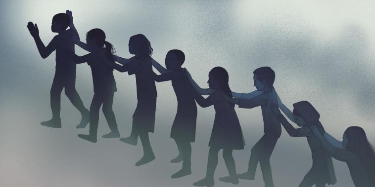 Illustration of children evacuating school.