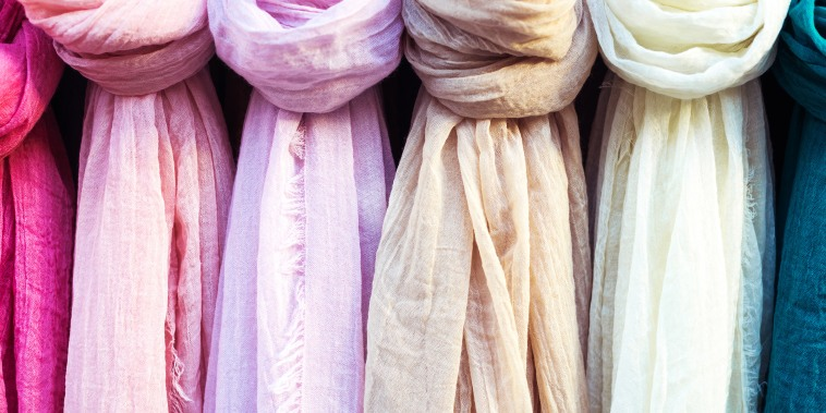 colorful scarf in the market.