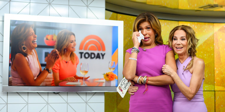 Kathie Lee Gifford and Hoda Kotb react to a video from Kathie Lee's second-to-last show